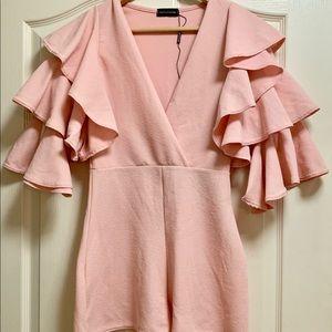 Pretty Little Things Pink Romper w/ Ruffles Sleeve
